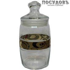 Гусь-Хрустальный Сияние EAV27-425 банка с герметичной крышкой, 1100 мл, стекло, Россия, в упаковке 2 пр.