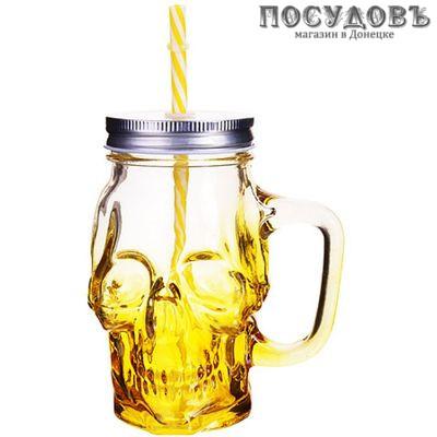 Loraine Череп 27815-1 банка для смузи стекло 530 мл, 3 пр.