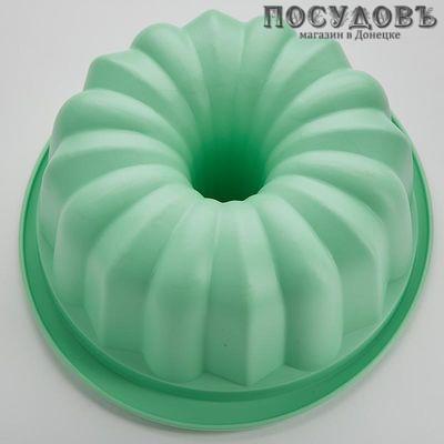 Webber BE-4398S зеленая круглая форма для выпечки кекса, силикон 258×237×95 мм