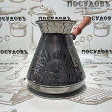 """Пятигорск """"Москва Златоглавая"""" 6774, турка, 850 мл, медь, деревянная ручка, Россия, без упаковки 1 шт"""