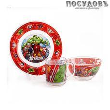 Priority Мстители КРС-938 набор детский, стекло, Россия, подарочная упаковка 3 пр.