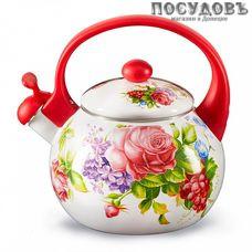 Metalloni EM-25101/63 Летний сад чайник со свистком, 2,5 л, сталь эмалированная, цвет: белый с рисунком, 1 шт.
