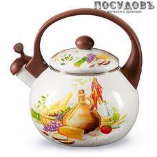 Metalloni EM-25101/65 Валенсия чайник со свистком, 2,5 л, сталь эмалированная, цвет: белый с рисунком