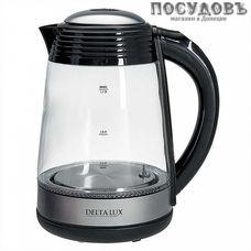 Delta Lux DE-1009 электрочайник, 2200 Вт, 1700 мл, стекло термостойкое, подсветка, цвет черный