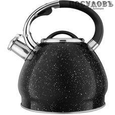 Aurora AU 601 чайник со свистком, 3,0 л, сталь нержавеющая, цвет: черный гранит