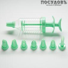 Webber BE-0381 шприц кондитерский с 8 насадками пластик, 180 мм, цвет зеленый, на блистере 9 пр.