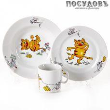 Добрушский фарфор Кошки-мышки 8с1477 набор детский, фарфор, Беларусь, в подарочной упаковке 3 пр.