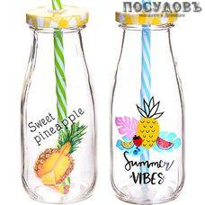 Loraine Summer 27818 бутылка для смузи с крышкой и трубочкой, 300 мл, стекло