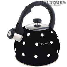 KING Hoff KH-1048 чайник со свистком, 2 л, сталь нержавеющая, цвет: черный, 1 шт.