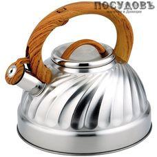 Alpenkok AK-502/1 чайник со свистком, 3 л, сталь нержавеющая, цвет: сатин
