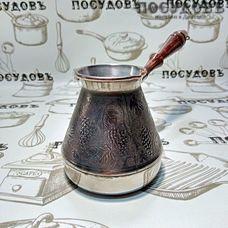 Пятерочка Виноград 6644, турка, 500 мл, медь, деревянная ручка, Россия, без упаковки 1 шт