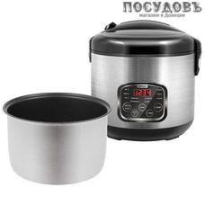 Centek CT-1490 мультиварка 860 Вт, 10 программ, чаша 5 л, керамическое покрытие, цвет металлик с черным