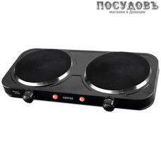 Centek CT-1507 плита электрическая, 2-конфорочная, 2000 Вт, эмалированное покрытие, цвет черный