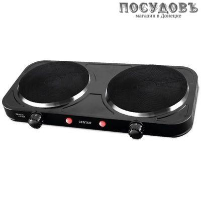 Centek CT-1507 плита электрическая 2-конфорочная 2000 Вт, цвет черный