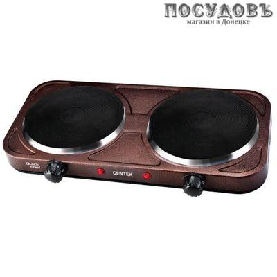 Centek CT-1507 плита электрическая 2-конфорочная 2200 Вт, цвет коричневый