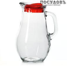 Pasabahce Bistro 80119BR, кувшин с красной крышкой, 240×83 мм 1850 мл, материал стекло, Россия, в упаковке 2 пр.