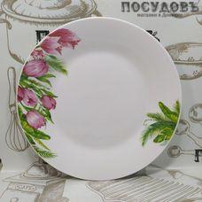 Батлер Тюльпаны AL-21 тарелка десертная, керамика, цвет белый с рисунком, Ø190 мм 1 шт.