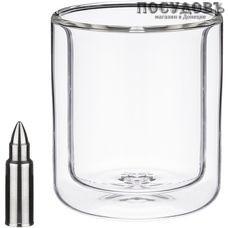 Agness 250-134 стакан с двойными стенками 220 мл, 2 виски-камня, стекло, прозрачный, Китай, в упаковке 3 пр.