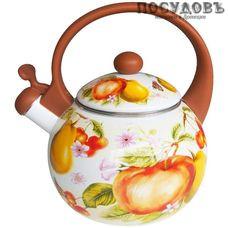 Metalloni EM-25001/37А фруктовый сад чайник со свистком, 2,5 л, сталь эмалированная, цвет: белый с рисунком, 1 шт.