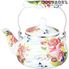 Metalloni EM-251X1/27 Таинственный сад чайник, 2,5 л, сталь эмалированная, цвет: белый с рисунком, 1 шт.