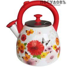 Metalloni EM-30001/43 Цветочная фантазия чайник со свистком, 3 л, сталь эмалированная, цвет: белый с рисунком, 1 шт.