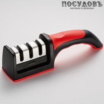 Alpenkok AK-3002, точило для ножей, съемный блок с 3 точильными полотнами, черный с красным