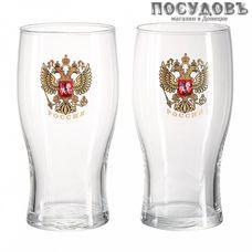 ДекоСтек Орёл 304/2-Д, стакан пивной, Ø84×160 мм 500 мл, материал стекло, Россия, в упаковке 2 шт.