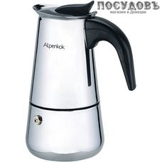 Alpenkok AK-801 гейзерная кофеварка, сталь нержавеющая, 220 мл, цвет металлик