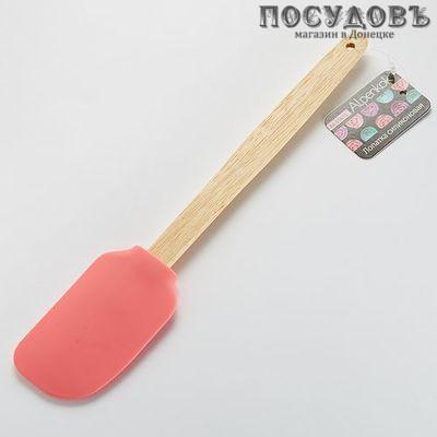 Alpenkok AK-5161S розовый, лопатка силиконовая, 295×50 мм, деревянная ручка