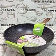 Olina Wok Pan 0816-2-28 сковорода вок Ø280×79 мм, алюминий литой, гранитное антипригарное покрытие, Китай