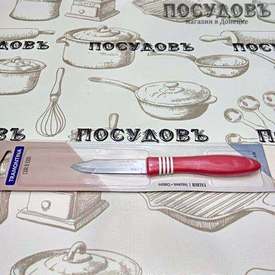"""Tramontina """"COR n COR"""" TR-23461/173 нож овощной, лезвие: сталь нержавеющая AISI 420 76×1,0 мм гладкая заточка, всадная полипропиленовая рукоятка, цвет красный, Бразилия, на блистере 1 шт"""