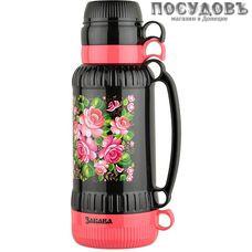 Забава РK-1807 термос с крышкой-стаканом, колба стеклянная 1800 мл, цвет черный с розовым