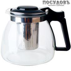 Alpenkok AK-5514/25A чайник заварочный с фильтром, стекло термостойкое, 900 мл, цвет черный