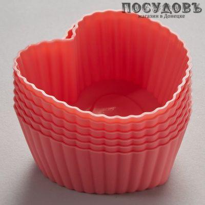 Alpenkok Сердечки АК-6055S, набор розовых форм для выпечки кексов, силикон, Ø70×50 мм, в упаковке 6 шт