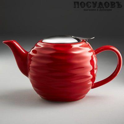 Rosario Ф19-001R чайник заварочный с фильтром, керамика, 800 мл красный
