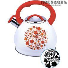 Забава PK-3003 Хохлома чайник со свистком, 3 л, сталь нержавеющая, цвет: белый с рисунком-индикатором, 1 шт.