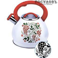 Забава PK-3004 Рябина чайник со свистком, 3 л, сталь нержавеющая, цвет: белый с рисунком-индикатором, 1 шт.