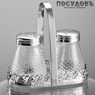Забава РК-7007 набор для специй солонка, перечница, подставка, стекло, хромированый металл, 80 мл