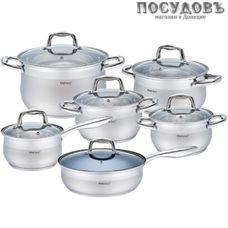 KING Hoff KH-1423 набор посуды, сталь нержавеющая, 12 пр.