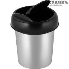 Пластик Репаблик Декор SV4049МТЛ контейнер для мусора с крышкой, Ø130×h155 мм, полипропилен, 1,0 л