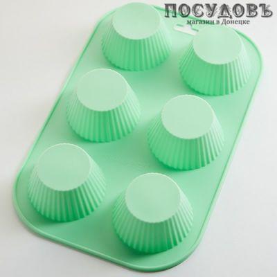 Alpenkok Кексы-26 АК-6192S зеленый, прямоугольная форма для выпечки 6 кексов, силикон, 260×165×35 мм