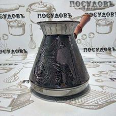 """Пятигорск """"Русский Дух"""" 6750, турка, 850 мл, медь, деревянная ручка, Россия, без упаковки 1 шт"""