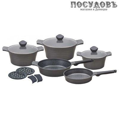 Klausberg KB-7356 набор посуды, алюминий литой, мраморное антипригарное покрытие, 12 пр.
