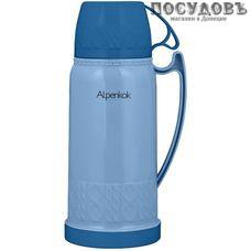 Alpenkok AK-10020S термос, колба стеклянная 1000 мл, корпус полипропиленовый синий без покрытия, Китай