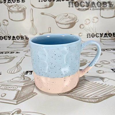 Lefard 153-892 кружка голубая с бежевым, фарфор, 400 мл