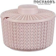 М-пластика Вязание М 1197 сахарница с крышкой, 450 мл, полипропилен, чайная роза, 2 пр.