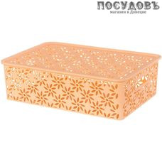 Violet Ромашка 4610030793528 корзина с крышкой, полипропилен, 350×245×105 мм, 7,5 л, цвет персиковый