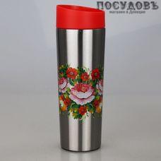 Забава Жостово РК-0405М термокружка, колба сталь нержавеющая 400 мл, цвет серый с рисунком