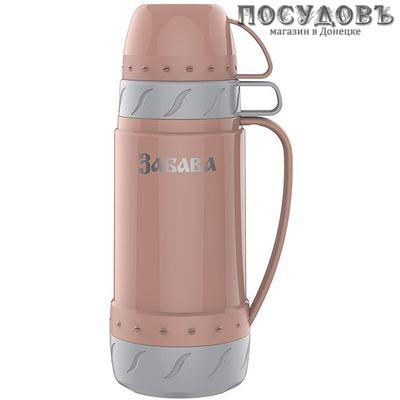 Забава РК-1002 термос 1000 мл, колба стеклянная, персиковый с серым