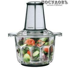 Centek CT-1395 измельчитель 600 Вт, чаша стеклянная 2000 мл, две пары ножей, цвет серебристый